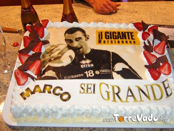 Torta per il Morcianese Marco Piscopo campione d'italia Volley