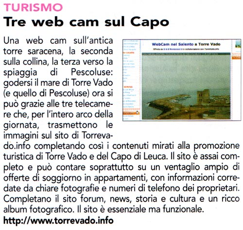 Articolo Qui Salento Giugno 2008 su TorreVado.info