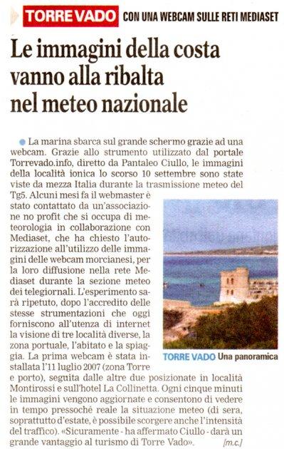 Torre Vado cn una Webcam sulle reti Mediaset