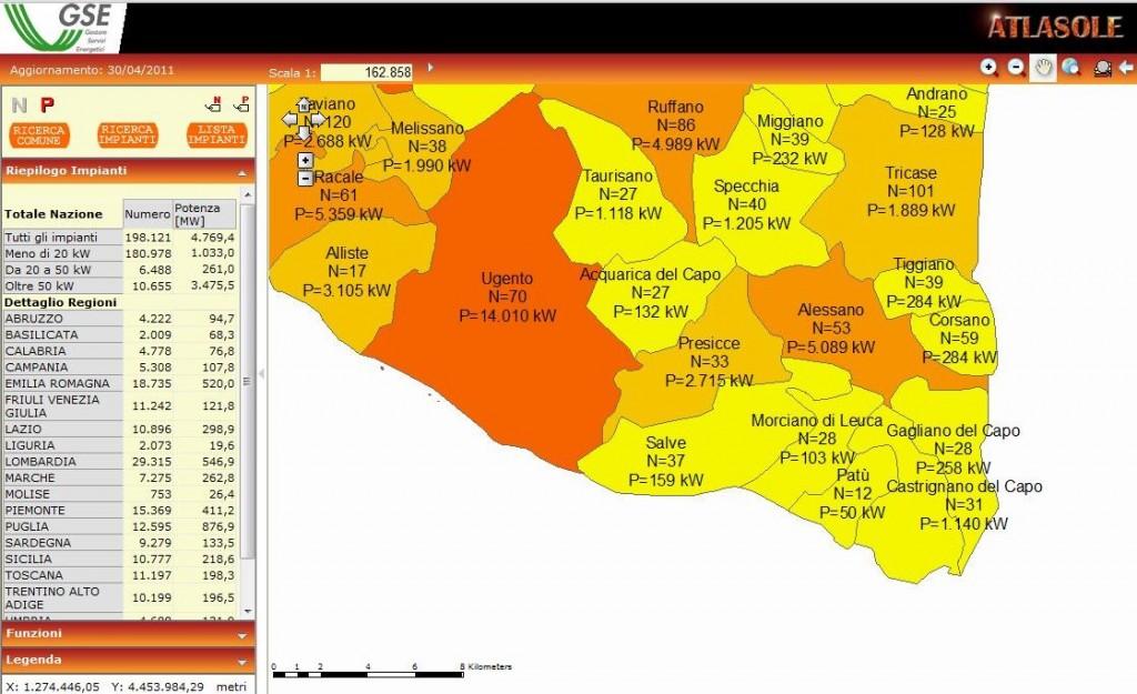 Situazione bassso salento fotovoltaico per potenza e per impianti